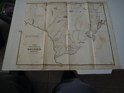 "Antique Map ""Sketch of the Public Surveys in Wisconsin Territory"" 1842"