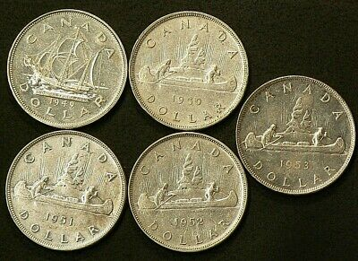 1949 to 1953 Canada $1 Dollars Lot of 5 Silver #6689