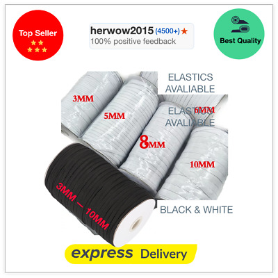 Flat Woven White & black Cord Elastic 4 mm 6mm 8mm 10mm 12mm For masks & dress