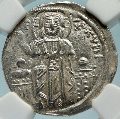 ANDRONICUS II PALAEOLOGUS Silver Basilicon Byzantine Coin CHRIST NGC i83986
