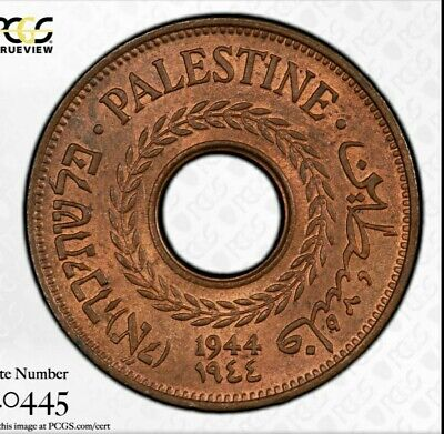 1944 Palestine 5 Mils PCGS MS64 RB Looks almost completely red- beautiful coin