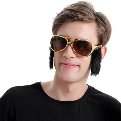 Costume Glasses Fashion Elvis Rock and Roll Party Eyewear With Sideburn Gift New