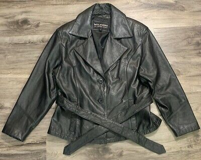 Wilsons Black Leather Jacket Womens Size Large Lined Button Belted EUC