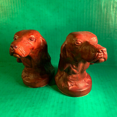 Vintage Irish Setter Book Ends Dog Colonial
