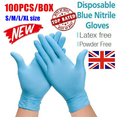 100PCS Strong Nitrile Gloves Disposable Latex Free Vinyl Food Safe Powder Free@