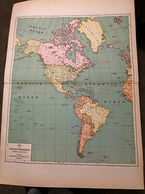 L@@K! Vintage 1940 World Atlas Map of US naval and air bases  WWII World War Map