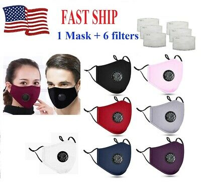 Cotton PM2.5 Respirator Mask+ 6 Carbon Filters with Nose Bridge Wire 12 Colors