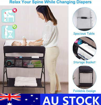 Baby Folding Changing Table Portable Diaper Station Organizer Storage Rack AU