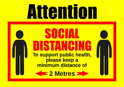 ATTENTION SOCIAL DISTANCING, Stay 2m Apart - Vinyl Stickers or Plastic boards