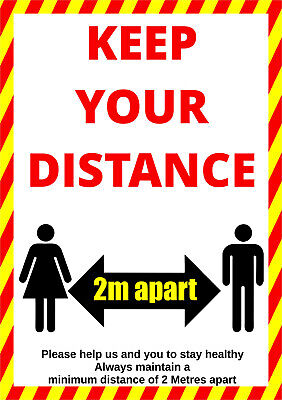 KEEP YOUR DISTANCE - SOCIAL DISTANCING SIGNS, Plastic Boards / Vinyl Stickers