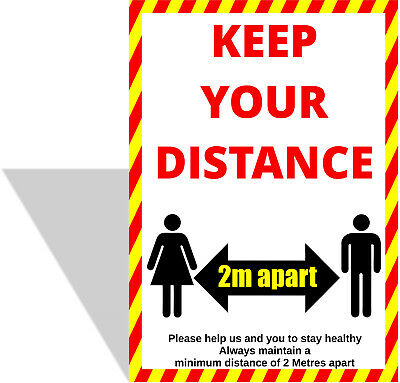 KEEP YOUR DISTANCE SIGNS - SOCIAL DISTANCING , Plastic Boards / Vinyl Stickers