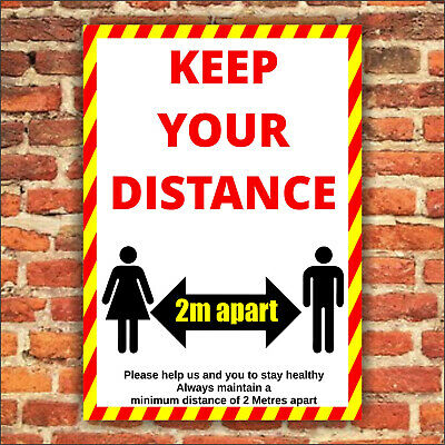 SOCIAL DISTANCING, C0VID KEEP YOUR DISTANCE SIGN - Plastic Board / Vinyl Sticker