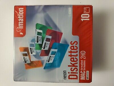 """Imation Neon MAC Formatted 2HD 1.4 MB 3.5"""" Diskettes"""