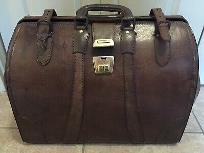 Vintage Antique Medical Doctors Bag Genuine Leather With Key