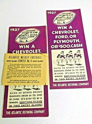 Vintage 1937 Atlantic Refining Football Contest Forms Pack of 7