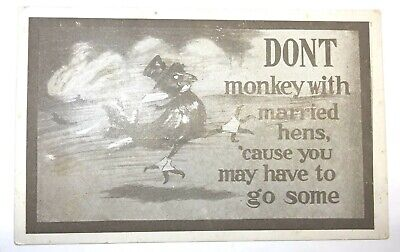 "Vintage Comic Postcard ""Don't Monkey With Married Hens..."", Unposted"