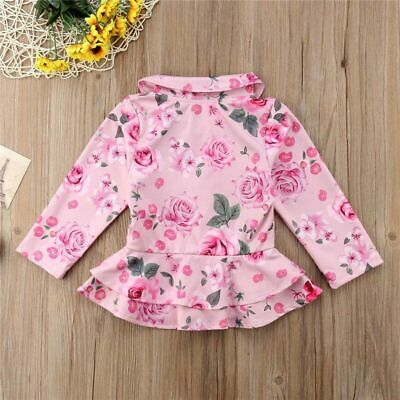 Toddler Baby Girls Kid Warm Cotton With Hoodies Autumn Floral Sweatshirts Casual