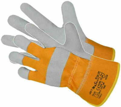 High Quality Yellow/Grey Rigger Leather Gloves Heavy Duty, Gardening, Outdoor