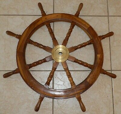 "Authentic Antique 8 Spoke 36"" Wood and Brass Nautical Captain's Ship Wheel"