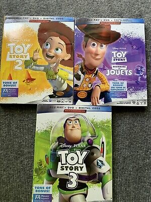 Disney's Toy Story Trilogy Blu-Ray DVD & Digital Lot 1 2 3 With Slip Cover