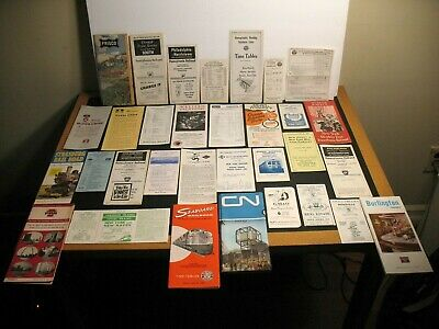 Railroad Timetable Brochure Lot 70 1959-1972 Prr Penn Central Seaboard Cn Up Sp