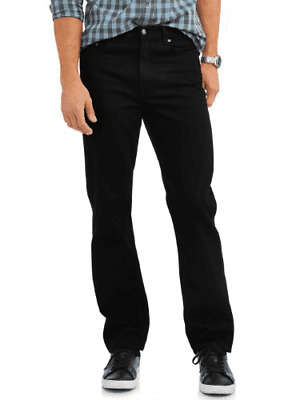 George Men's Relaxed Fit Jean BLACK 44 X 32