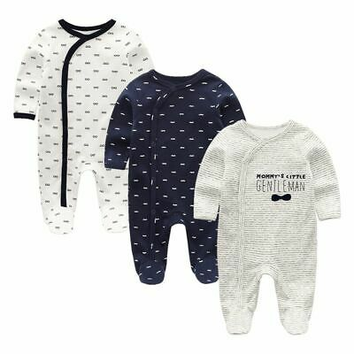 Newborn Cotton Baby Girl Boy Overall Rompers Long Sleeve Covered Buttons Closure