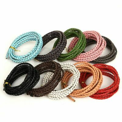 Braided Genuine Round Leather Cord String Thread For DIY Necklace Bracelet 2-3mm