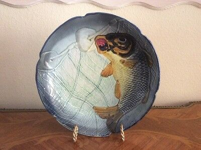Antique French Majolica Plate Dish Fish Caught In Net c1800's