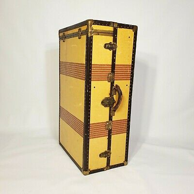 1930s VINTAGE STEAMER WARDROBE TRUNK STRIPED LUGGAGE