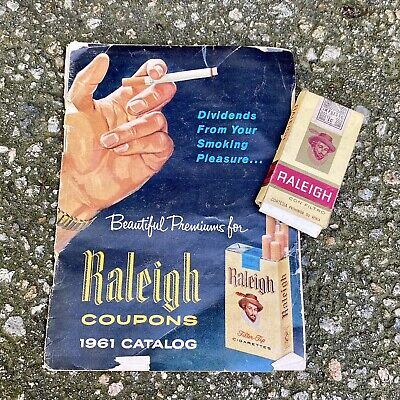 Vintage Raleigh Cigarettes Premiums Catalog Empty Cigarette Pack Mexico Lot