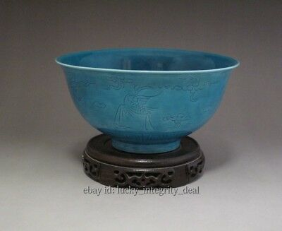 6.1in Chinese Old Turquoise Green Glaze Hand-Carved Cloud Cranes Porcelain Bowl