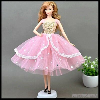 New Barbie doll clothes outfit princess wedding gown evening pink dress clothing