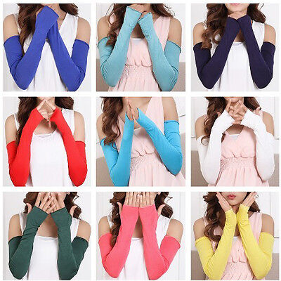 20 Colors Cosy Women Girl Arms Warmer Cotton Long Fingerless Gloves