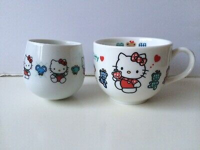 Hello Kitty Vintage Ceramic Mug Cup Set - It's A Beautiful Day - Sanrio Japan