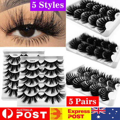 5 Pairs Mink 3D Natural Thick False Fake Eyelashes Eye Lashes Makeup Extension