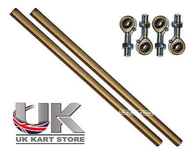 Go Kart M8 Track Rod 275mm Round Gold With Ends X 2 Race Racing