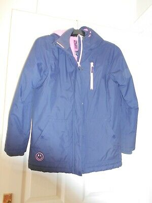 Girls Navy / Pink Warm Lined Coat * Age 14 * Next * VGC