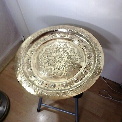 Antique Engraved Moroccan Brass Tray