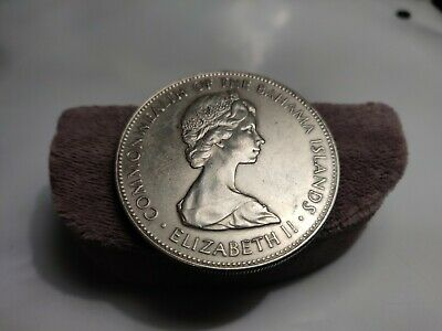 1971 COMMONWEALTH of BAHAMA ISLANDS Q EII-5 DOLLARS-SILVER COIN