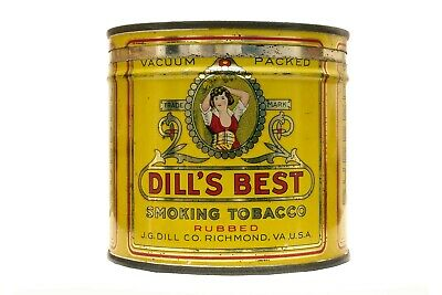"Rare 1930s ""Dill's Best"" litho keyed tobacco tin in excellent condition"