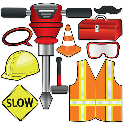 (12) Construction Photo Fun Signs prtd 2 sides w/different designs