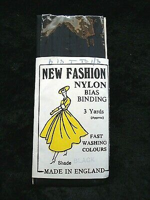 BN VINTAGE COLLECTABLE ORIGINAL PACKAGING BLACK BIAS BINDING NYLON 1950s