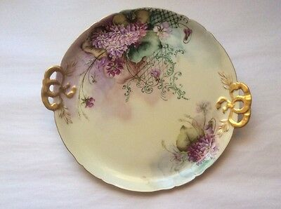 Dresser Tray Antique Limoges Hand Painted French Purple Flowers c.1900
