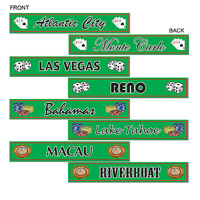 (12) Gambling Destination St Sign Cutouts prtd 2 sides w/different designs
