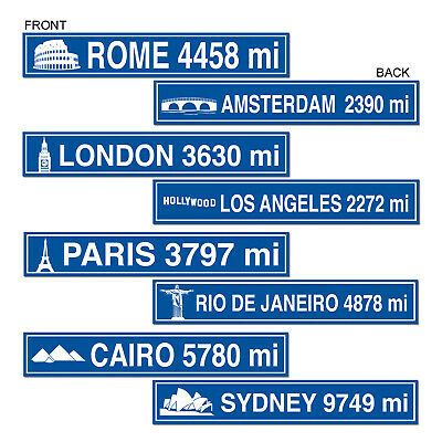 (12) Travel Street Sign Cutouts prtd 2 sides w/different designs