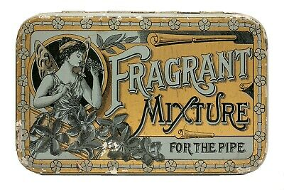 "Scarce 1900s ""Fragrant"" hinged cut plug tobacco tin is in very good condition"