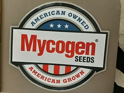 Vintage Mycogen Seeds Metal Sign American Owned Farm Corn Red White Blue Feed