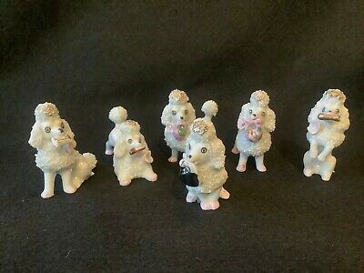 Enesco White Poodle Figurines, Made in Japan, Set of 6