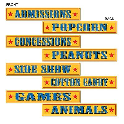 (12) Circus Sign Cutouts prtd 2 sides w/different designs